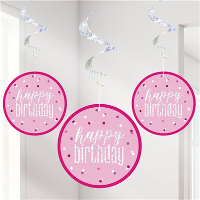 Pink Birthday Glitz Hanging Swirls - 80cm