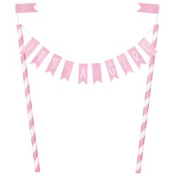 """It's a Girl"" Baby Shower Bunting Cake Topper - 25cm"