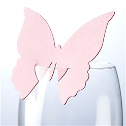 Butterfly Place Cards for Glasses - Pink