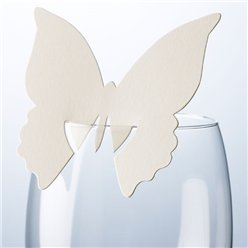 Butterfly Place Cards for Glasses - Ivory
