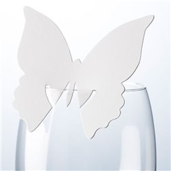 Butterfly Place Cards for Glasses - White