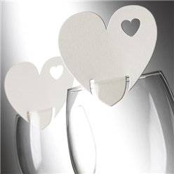 Heart Place Cards for Glasses - Ivory
