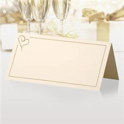 Contemporary Heart Wedding Place Cards - Gold