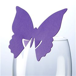 Butterfly Place Cards for Glasses - Purple