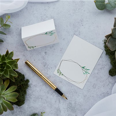 Geometric Greenery Wedding Place Cards