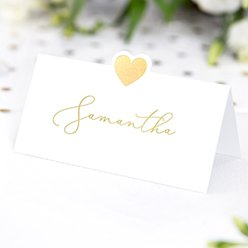 Gold Heart Wedding Place Cards