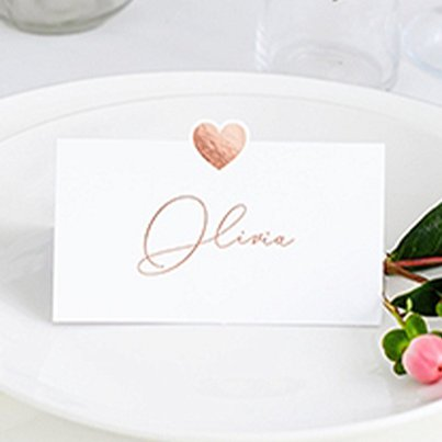 Rose Gold Heart Wedding Place Cards