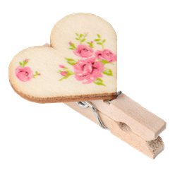 Floral Wooden Heart Pegs - 2.5cm