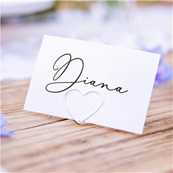 Silver Heart Place Card Holders