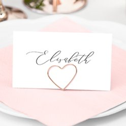 Rose Gold Heart Place Card Holders