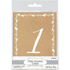 Rustic Table Number Cards