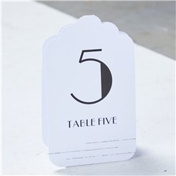 White & Silver Glitter Table Number Placecards 1-12