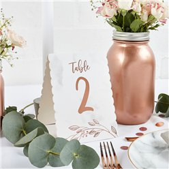 Rose Gold Table Numbers 1-12