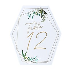 Geometric Greenery Wedding Table Numbers 1-12