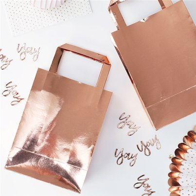 Pick & Mix Rose Gold Paper Party Bags - 26cm