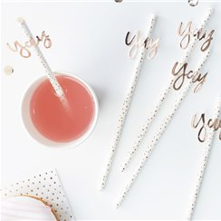 Pick & Mix Rose Gold 'Yay' Paper Straws