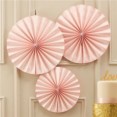 Pastel Perfection Pink Paper Fan Decorations - 36cm
