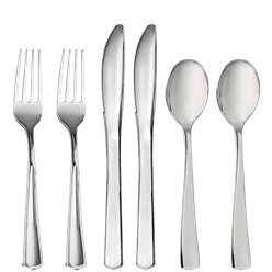 Premium Silver Reuseable Plastic Cutlery - Assorted Party Pack
