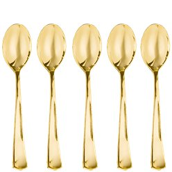 Premium Gold Small Reuseable Plastic Spoons