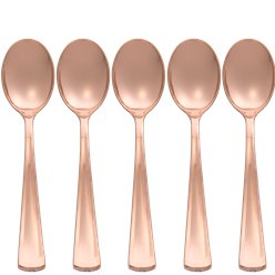 Premium Rose Gold Small Reuseable Plastic Spoons