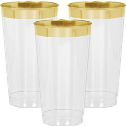 Premium Gold Trim Plastic Tumbler - 454ml