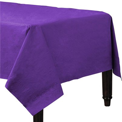 Purple Plastic Lined Paper Tablecover - 1.4m x 2.8m