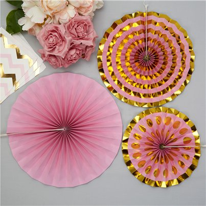 Pattern Works Pink & Gold Paper Fan Decorations
