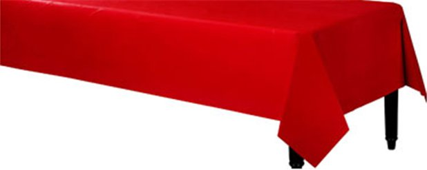 Red Plastic Table Cover - 1.4m x 2.8m