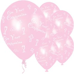 "First Holy Communion Pink Balloons - 11"" Latex"