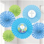 Communion Blue Paper Fans