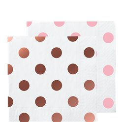 Rose Gold Dot Beverage Paper Napkins - 25cm