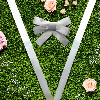 Silver Wedding Car Ribbon & Bows Kit - 9m