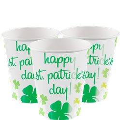 Rainbow Shamrock Cups - 255ml Paper Party Cups