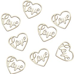 Rustic Country Wooden Heart Love Confetti - 24pcs