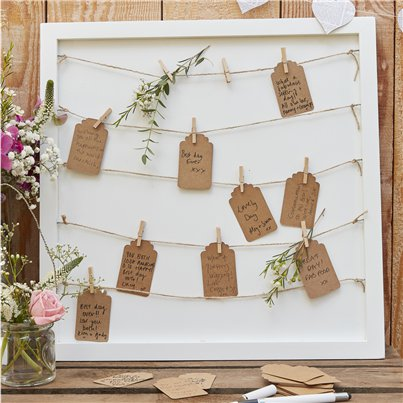 Rustic Country Peg & String Framed Guestbook