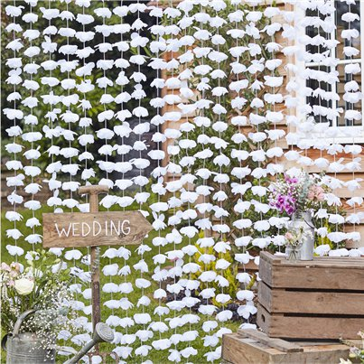 Rustic Country White Floral Backdrop - 1.8m x 2m