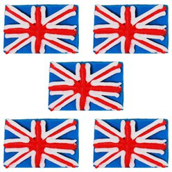 Union Jack Sugar Cake Toppers - 5pk