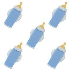 Blue Baby Bottle Sugar Cake Toppers - 5pk