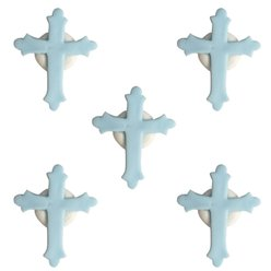 Christening Sugar Cake Toppers - Blue Crosses