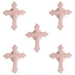 Christening Sugar Cake Toppers - Pink Crosses