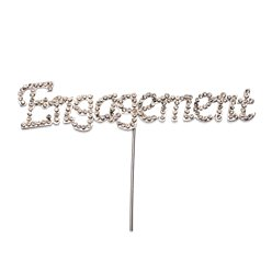'Engagement' Diamante Cake Pick - 12.5cm