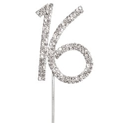 Number 16 Diamante Cake Pick - 4.5cm