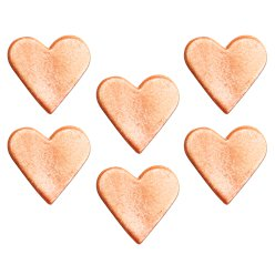 Rose Gold Hearts Sugar Cake Toppers - 6pk