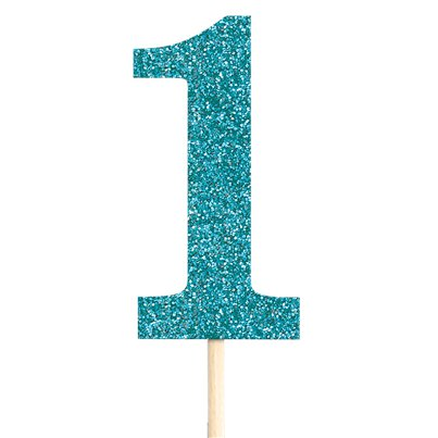 Number 1 Large Blue Glitter Pick - 36cm