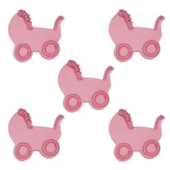 Baby's Pram Pink Sugar Toppers - Cake Decorations