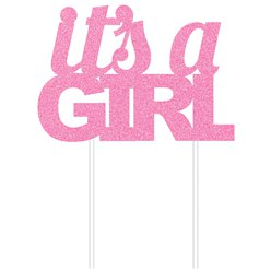 It's A Girl Pink Glitter Cake Topper - 18cm x 20cm
