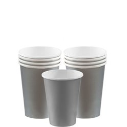 Silver Cups - 266ml Paper Party Cups