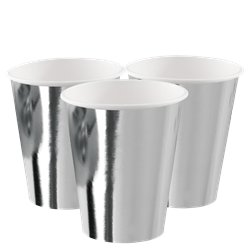 Silver Metallic Paper Cups - 250ml