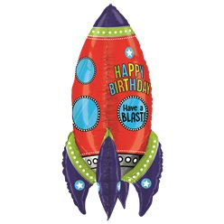 "Space Rocket Birthday Supersize Balloon - 36"" Foil"