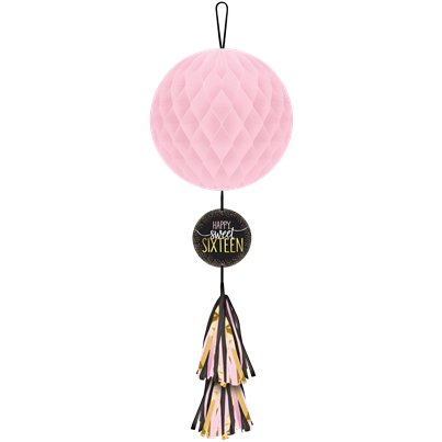 Blush Sixteen Honeycomb Decoration w/ Tassel Tail